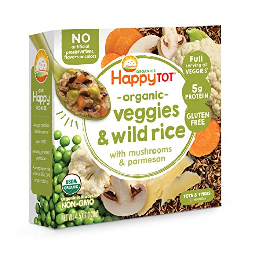 Happy Tot Organic Veggies & Wild Rice with Mushrooms & Parmesan Meal Bowls, 4.5 Ounces, Pack of 8