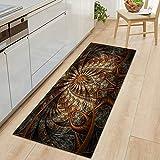OPLJ Alfombra de cocina con patrón de flores 3D, para dormitorio, sala de estar, pasillo, alfombra antideslizante, tamaño A18, 40 x 120 cm