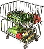Carros de Cocina Cocina de acero inoxidable plato plato verdura y fruta cesta bastidor de bastidor Carrito multi-capa carro fruta y cesta de almacenamiento de verduras LQHZWYC ( Color : 2 Layer )