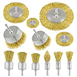 TUPARKA Set 12 Spazzole Metalliche per Trapano per Ruggine Metallo Legno, set di spazzole per trapano a spazzola rivestite in ottone con spazzola a tazza, ruota per filo con gambo da 0,25 pollici