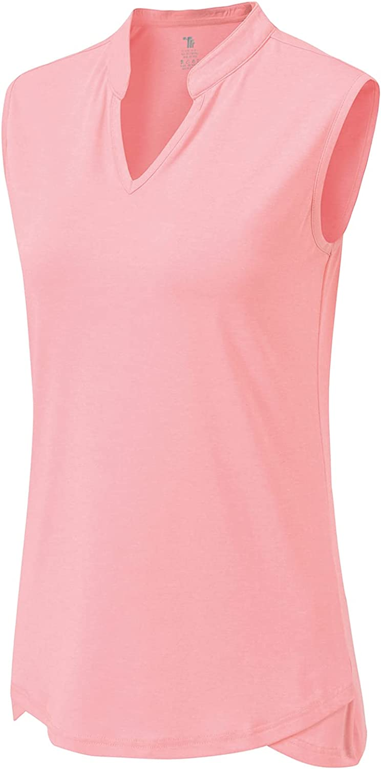 BGOWATU Women's Cheap mail order sales Golf Polo Easy-to-use T-Shirts V Collarless Sleeveless Neck