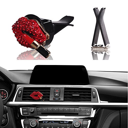 MINI-FACTORY Bling Car Interior Decoration, Car Air Vent Rhinestone Diamond Decoration - Red Lipstick