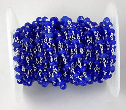 Shree_Narayani Rosario de 3 pies de lapislázuli de cuentas de cadena Rondelle con alambre facetado envuelto en plata estilo rosarios cadena de cuentas colgante racimo angoori