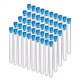 BENECREAT 30 Pack 15ml Tubos de Ensayo de Plástico con Azules Tapas Espiral Botella de Ensayo con Escala Recipiente de Líquedo y Cosas Pequeñas 1.5x15cm