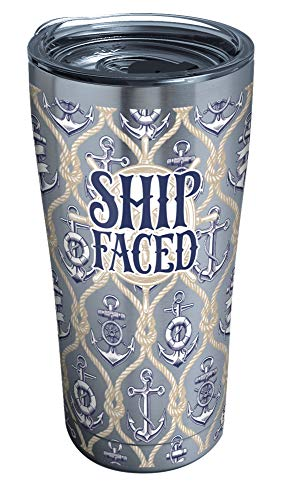 Tervis Ship Faced Stainless Steel Tumbler with Clear and Black Hammer Lid 20oz, Silver