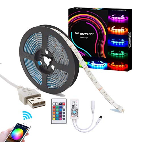 WOWLED 2 m USB 5050 RGB 60 LED Flexible Smart Strip Licht Wasserdicht Band Licht 5V Alexa iOS Android App Wireless WiFi IR Fernbedienung