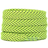 DELELE 2 Pairs Reflective Shoelace Flat Fluorescent Yellow Safety Laces for Shoes Sneakers Boots 47 inches