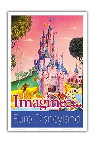 Pacifica Island Art Euro Disney País–Paris, Francia–Imag Inez (Träume)–Vintage Retro Mundo c.1990s–Póster de Viaje de Impresión, Weiß, 31cm x 46cm