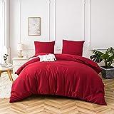 AYSW Sets de Housse de Couettes 200x200cm + 2taies d'oreillers 65x65cm Parure de lit pour 2 Personnes Bordeaux