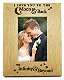 I Love You To The Moon And Back To Infinity And Beyond 6x4 Wooden Photo Picture Frame Romantic Birthday Anniversary Valentines Day Gifts Presents For Her Him My Wife Husband Boyfriend Girlfriend