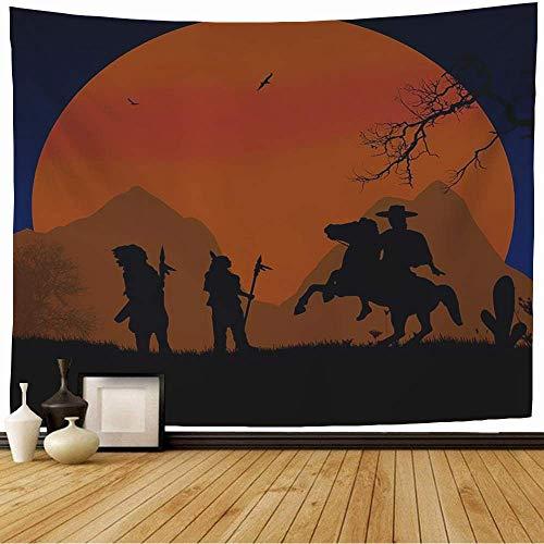 Tapiz Colgante de Pared Coraje Vaquero Indios Tema Indio Cacique en Tribu Salvaje Gente Valiente Parques Disfraz Sombrero al Aire Libre Tapiz Decoracin Sala de Estar Dormitorio para el hogar