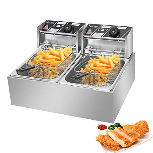 Deep Electric Fryer 12.7QT/12L Commercial Countertop with Baskets French Fryer for Commercial Restaurant Home Kitchen w/Adjustable Temperature [US STOCK] (Double Basket Deep Fryer)