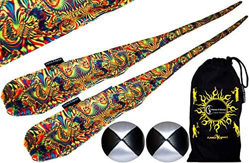 Flames N Games Funky® Pro Socken-Poi (Aurora) Sock Poi Set inkl. 2X Beanbags Bälle & Reisetasche. Swinging Poi und Spinning Pois! Pois für Anfänger und Profis.