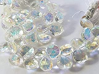 Jewel Beads Natural Beautiful jewellery CRYSTAL Gemstone. Semi Precious Gemstone. Faceted Mystic Crystal Heart Briolette. 10-11mm 18pcsCode:- JBB-42543