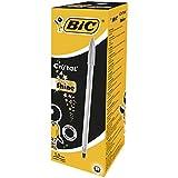 BIC Cristal Shine Bolígrafos Punta Media (1,0 mm) - Tinta Negra y Cuerpo Plateado, Caja de 20 Unidades, ideal para uso diario