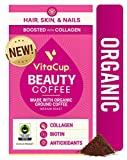 VitaCup Beauty Coffee Organic Fair Trade Ground Coffee w/ Cinnamon, Collagen, Biotin, & Vitamins for Hair Skin and Nails for Drip Coffee Brewers & French Press, 10 OZ
