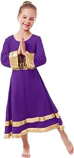 Girls Metallic Gold Robe Worship Praise Dance Dress Long Sleeve Loose Full Length Liturgical Skirt+Sequins Belt
