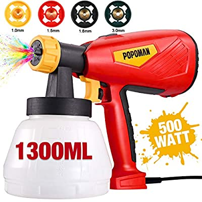 Paint Sprayer, POPOMAN 500 Watts Up to 100 DIN-s, 800ml/min HVLP Spray Gun with 1300ml Detachable Container, 4 Copper Nozzles & 3 Spray Patterns, Adjustable Volume Dial for Home Decoration
