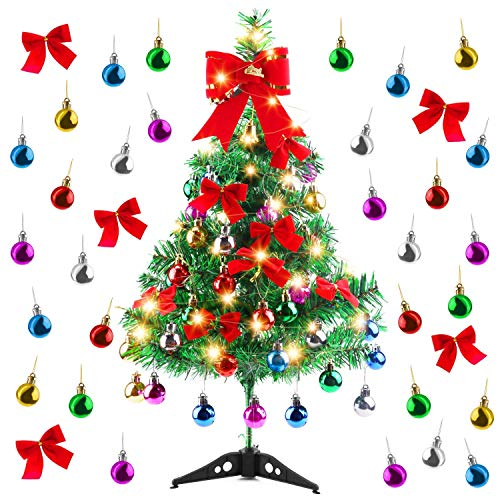 Migaven Albero di Natale da Tavolo, 24 inch Mini Albero di Natale in Artificiale con Luci a stringa LED Ornamenti di Palla Fiocchi di Nodi per Decorazioni da Tavolo per Feste Natalizie a Casa