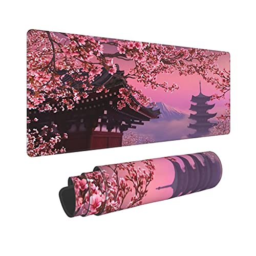 Japanese Sakura Flower Gaming Mouse Pad Durable Stitched Edge Large Keyboard Pad for Office, Home, Computer, Labtop - 31.5' X 11.8'