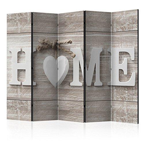 murando Raumteiler Home Holz-Optik Foto Paravent 225x172 cm beidseitig auf Vlies-Leinwand Bedruckt...