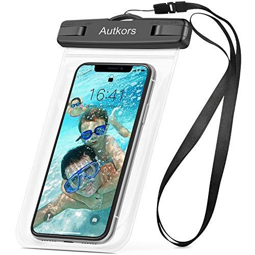 Autkors Funda Impermeable Móvil, IPX8 Funda Bolsa Impermeable Teléfono Universal de 6 Pulgadas Funda Acuática Móvil para Phone XS/X/8 Plus, Huawei P20/P10/P9, Galaxy S9/S8