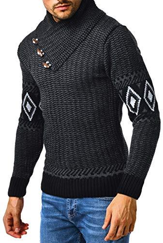 Leif Nelson Herren Strickpullover Pullover Männer Pulli für Winter Winterpullover Norweger Schalkragen Slim Fit Longsleeve Grobstrickpullover Langarm LN5915 L Schwarz-Anthrazit