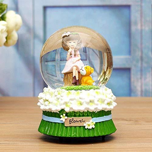 PLBB3K Caja de música de Bola de Cristal Caja de música Luminosa Copo de Nieve día de San valentín cumpleaños cumpleaños Regalo-Sit_ (Color : Sit)