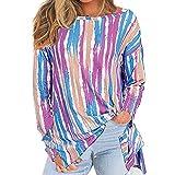 Elesoon Blusa de manga larga con estampado de rayas multicolor y dobladillo y corte tribal para mujer, A-azul, 50