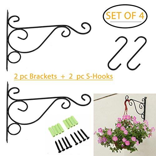 Ouvin Lot de 2 Crochets muraux pour Plantes à Suspendre avec 2 Crochets en S 15,2 cm pour lanternes, jardinières, mangeoires à Oiseaux à Suspendre 10\