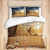 Funda nórdica, viajes a Egipto, antiguas pirámides egipcias, historia en el desierto con águila voladora, pájaro, naturaleza, sol, ropa de cama de microfibra de calidad, ultra suave, cómodo diseño mod
