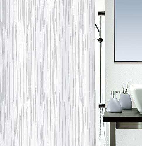 """Spirella Anti-Schimmel Duschvorhang - Anti-Bakteriell, waschbar, wasserdicht, Polyester, """"Raya"""" 180x200cm Weiß"""