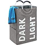 HOMEST Double Laundry Hamper with Handle, Self-Standing Modern Laundry Basket for Dorm Room, Grey (Patent Pending)