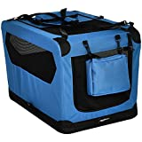 Amazon Basics Premium Folding Portable Soft Pet Dog Crate Carrier Kennel - 30 x 21 x 21 Inches, Blue