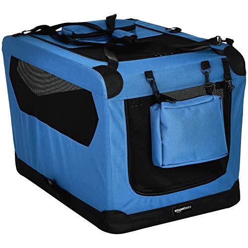 Amazon Basics – Transportín para mascotas abatible, transportable y suave de gran calidad, 76 cm, Azul