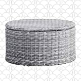 Elle Decor Vallauris Patio Outdoor Furniture Collection Premium All Weather Wicker, Storage Coffee Table, Gray