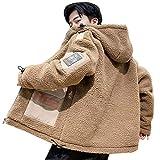 Minesam ボアコート メンズ ジャケット フード付き ボアブルゾン もこもこ 防寒コート ショート丈 アウター 大きいサイズ 秋冬 カーキ 4XL