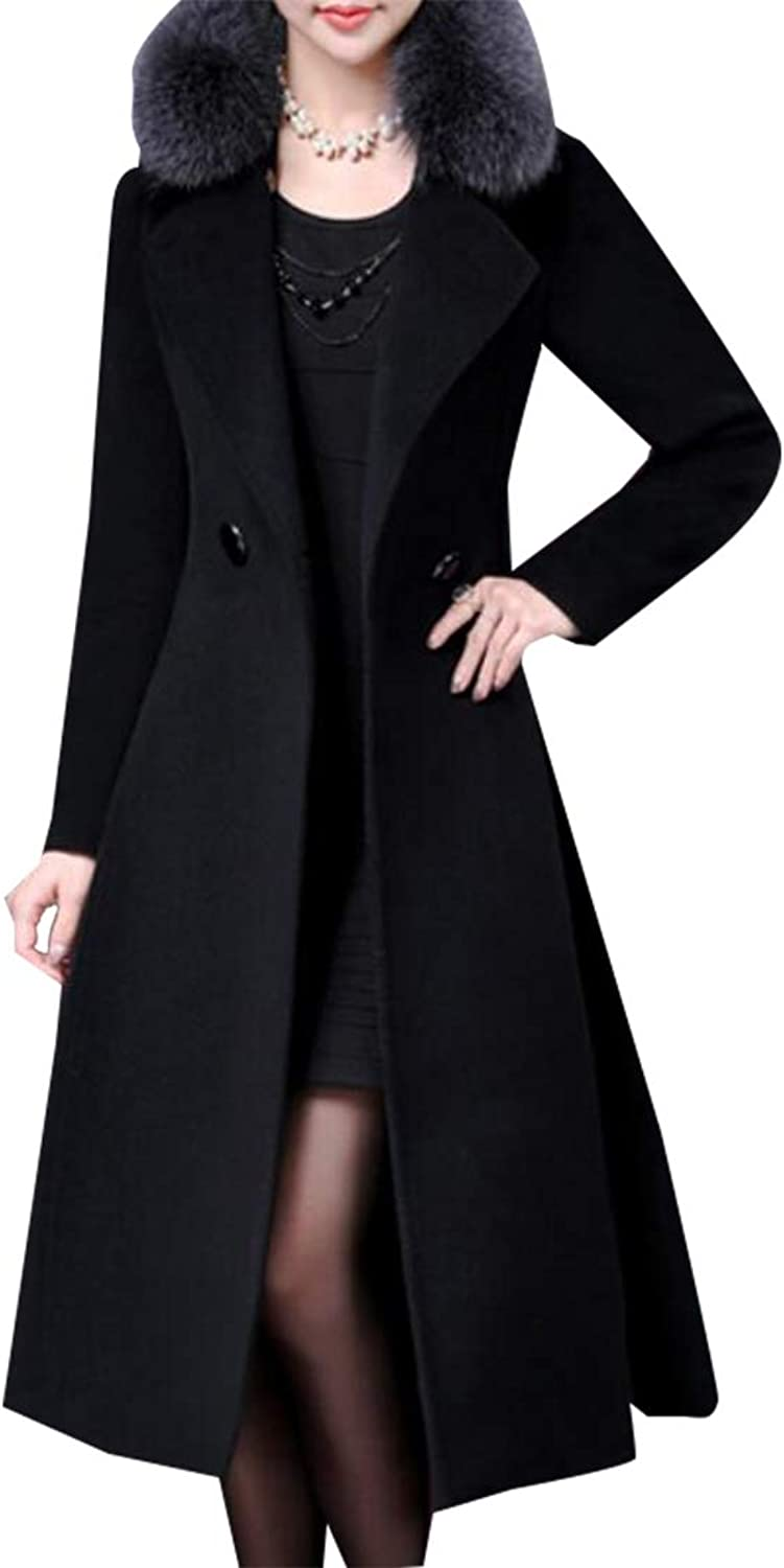 Esast Womens Business Long Sleeve Thicken Fur Faux Pea Coat Overcoat with Belt