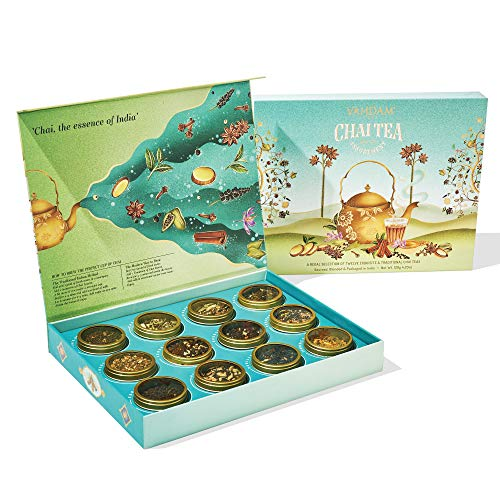 VAHDAM, Teesortiment-Geschen für Muttertag - 12 verschiedene Chai-Tees in einer luxuriösen Geschenkbox | 100% natürliche Zutaten | gesundes Muttertagsgeschenk | Tee-Geschenkset für Mama