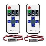 VIPMOON Lot de 2 RF Mini monochromatique contrôleur avec DC 11-key télécommande sans fil pour Dimmable 3528 5050 Bande de LED, 2pin Wire Connector 60.00 watts 24.0 volts