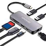 Onshida USB C Hub, 7 Port USB C Adapter mit HDMI 4K, Gigabit Ethernet Rj45, Type C PD, 2 USB 3.0 und SD/TF Kartenleser für MacBook, MacBook Pro, Chromebook, Samsung S8/S9/S10, Huawei Mate 10/20/P20