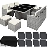 <span class='highlight'>TecTake</span> 800855 <span class='highlight'>Rattan</span> Aluminium <span class='highlight'>Garden</span> <span class='highlight'>Furniture</span> <span class='highlight'>Set</span> Outdoor Wicker Black 6 4 Seats   1 Table (Light Grey)