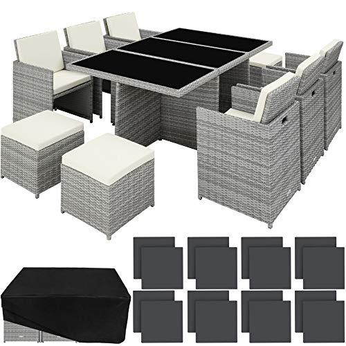 TecTake 800855 Conjunto de Muebles de Jardín Poliratán, Set Exterior 6X Sillas 4X Sillones Puf 1x Mesa, Incl. Funda Completa & Fundas Intercambiables (Gris Claro)