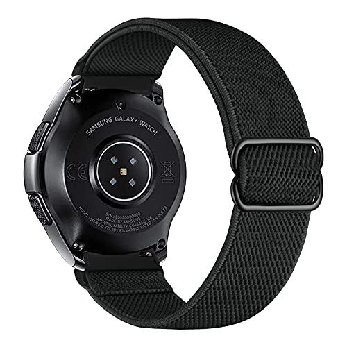 iBazal Correa Galaxy Watch 46mm Pulsera Nylon 22mm Banda Trenzada Lazo Loop Repuesto para Samsung Galaxy Watch 3 45mm/Gear S3 Frontier Classic, Huawei Watch GT/GT 2 46mm Woven Sport Band - Negro