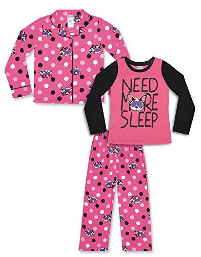 Girl's 3 Piece Pajama Set – Pink Dog Camo Print (Pink Dog Print, X-Small (4-5))