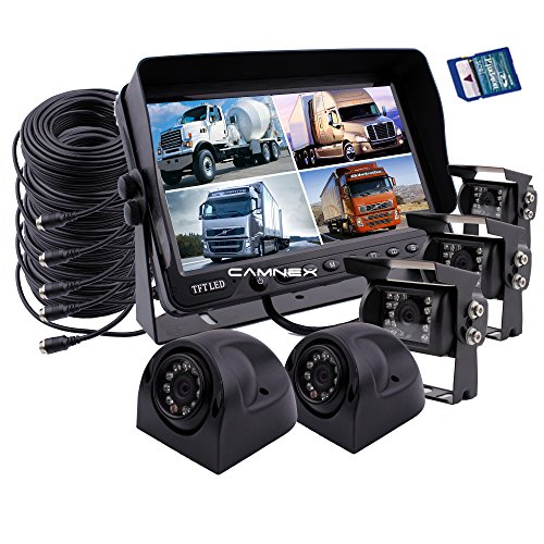 Camnex Rear View Backup Camera System 9 inch Monitor Built-in DVR Video Recording with Quad Split Screen 5 x Sony CCD Color Waterproof Night Vision Camera for Truck Van Caravan Trailers Camper Bus RV backup Cameras Electronics Features Vehicle