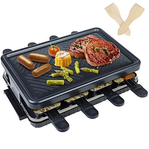 Raclette 8 Personen - Antihaft-Beschichtung Raclette Grill Elektrisch mit 8 Mini Raclette Pfännchen 2 Holzspatel Elektrogrill Weihnachts Geschenk Raklettgerät Grill für Drinnen und Draußen