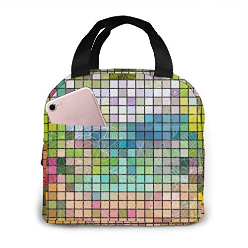 Yuanmeiju Seamless Colorful Mosaic 317 Kids Lunch Box Boys for Woman Man Work Pinic or Travel