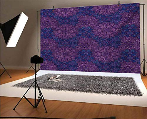 Indigo 5x3 FT Vinyl Photography Background Backdrops, Paisley Flower Inspired Design with Inner Swirls Leaves Image Background for Photo Backdrop Studio Props Photo Backdrop Wall