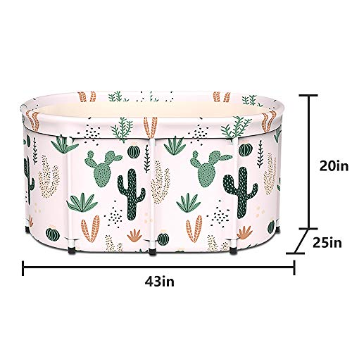 """LUCKUP Large Foldable Soaking Bathing Tub Portable Bathtub for Adults Freestanding Non-Inflatable Hot Bath Tub, Thickened Thermal Foam to Keep Temperature Suitable for two person 43""""x25""""x20"""""""